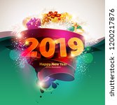 happy new year 2019. poster... | Shutterstock .eps vector #1200217876