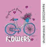 bicycle and heart  flowers... | Shutterstock .eps vector #1200234496