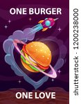 one burger  one love. funny...   Shutterstock .eps vector #1200238000