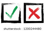 check and x grunge hand drawn... | Shutterstock .eps vector #1200244480