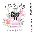 love slogan with perfume and...   Shutterstock .eps vector #1200255220
