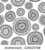 doodle circles seamless pattern.