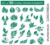 vector stylish set of  floral... | Shutterstock .eps vector #1200258826