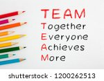 team acronym and colored pencil ... | Shutterstock . vector #1200262513
