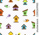 seamless pattern with funny... | Shutterstock .eps vector #1200269983