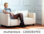 young woman in black tights... | Shutterstock . vector #1200281953