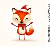 christmas cute little fox with... | Shutterstock .eps vector #1200299296