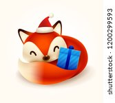 christmas cute little fox with... | Shutterstock .eps vector #1200299593