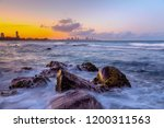 sunset views and water flowing... | Shutterstock . vector #1200311563
