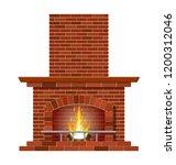 winter interior bonfire.... | Shutterstock .eps vector #1200312046
