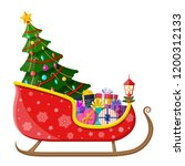 santa claus sleigh with gifts... | Shutterstock .eps vector #1200312133