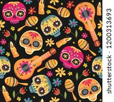 day of the dead seamless vector ... | Shutterstock .eps vector #1200313693