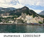 amalfi view from sea at cloudy... | Shutterstock . vector #1200315619