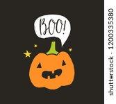 funny halloween pumpkin lantern.... | Shutterstock .eps vector #1200335380