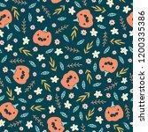 cute halloween pattern with... | Shutterstock .eps vector #1200335386