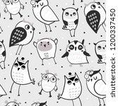 hand drawn various cute owls.... | Shutterstock .eps vector #1200337450