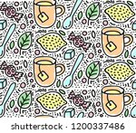 tea lemon spoon doodle seamless ... | Shutterstock .eps vector #1200337486