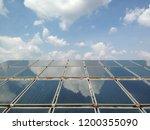 solar heat panel on blue sky... | Shutterstock . vector #1200355090