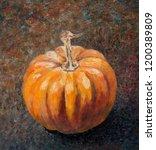 pumpkin on dark background hand ... | Shutterstock . vector #1200389809
