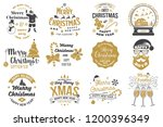 set of merry christmas and 2019 ... | Shutterstock .eps vector #1200396349