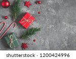 christmas composition. gifts ... | Shutterstock . vector #1200424996