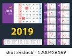 vector calendar 2019. purple... | Shutterstock .eps vector #1200426169