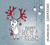 happy new year. cartoon deer... | Shutterstock .eps vector #1200433360