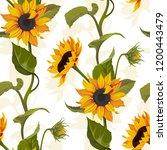 sunflower vector seamless... | Shutterstock .eps vector #1200443479