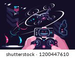 hands holding controller flying ...   Shutterstock .eps vector #1200447610