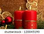 two candles and christmas... | Shutterstock . vector #120045190