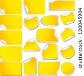 yellow blank sticky curled...   Shutterstock . vector #120045904