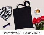 black blank cotton eco tote bag ... | Shutterstock . vector #1200474676