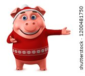 merry christmas pig on a white...   Shutterstock . vector #1200481750