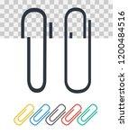 paper clip on paper. fastener... | Shutterstock .eps vector #1200484516
