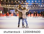 young couple in love caucasian... | Shutterstock . vector #1200484600