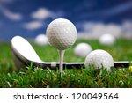 golf ball on the green grass.... | Shutterstock . vector #120049564