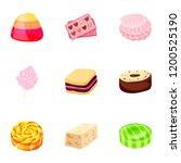 caramel candy icon set. cartoon ... | Shutterstock .eps vector #1200525190
