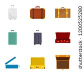 travel suitcase icon set. flat...   Shutterstock .eps vector #1200525280