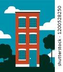 red wooden house vector...   Shutterstock .eps vector #1200528250