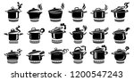cooking saucepan steam icon set.... | Shutterstock .eps vector #1200547243