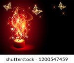 burning candle with mysterious... | Shutterstock .eps vector #1200547459