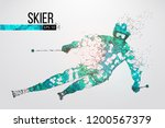 silhouette of a skier jumping... | Shutterstock .eps vector #1200567379