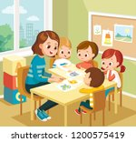 teacher showing a drawing to... | Shutterstock .eps vector #1200575419