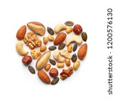 Various Nuts Arranged In A...