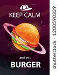 keep calm and eat burger. funny ... | Shutterstock .eps vector #1200590329