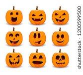 halloween pumpkins.  vector... | Shutterstock .eps vector #1200599500