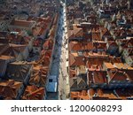 many old houses with red orange ... | Shutterstock . vector #1200608293