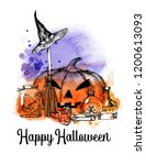 happy halloween background.... | Shutterstock .eps vector #1200613093
