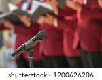 microphone on a stand in front... | Shutterstock . vector #1200626206