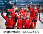 happy youth boys players team... | Shutterstock . vector #1200635179
